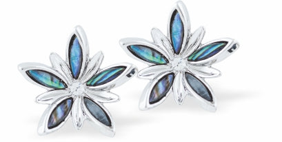Paua Shell Spring Flower Drop Earrings, Rhodium Plated