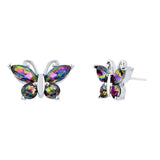 Crystal Vitrail Medium Butterfly Stud Earrings