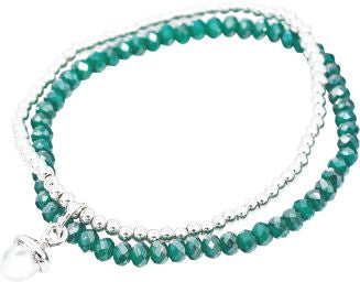 Stretch Charm Bracelet double stranded with jade green beads Acorn Charm