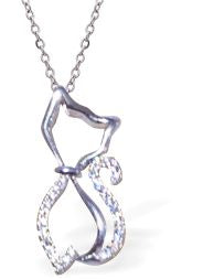 Crystal Encrusted Curly Cat Necklace