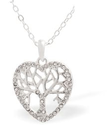 Crystal Encrusted Tree of Life, Heart Framed Necklace, 18mm in size