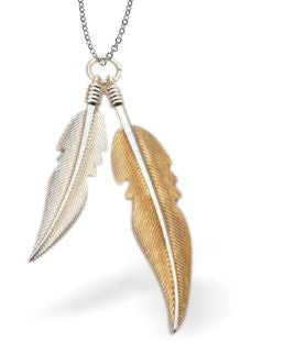 Designer Two Feathers Necklace