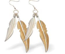 Designer Two Feathers Drop Earrings, gold and silver coloured