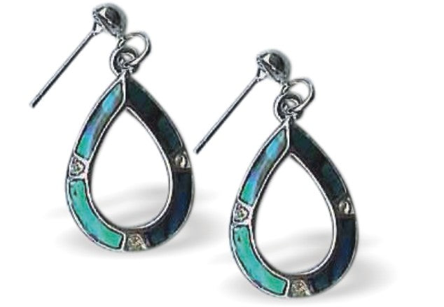 Paua Shell Hollow Drop Earrings
