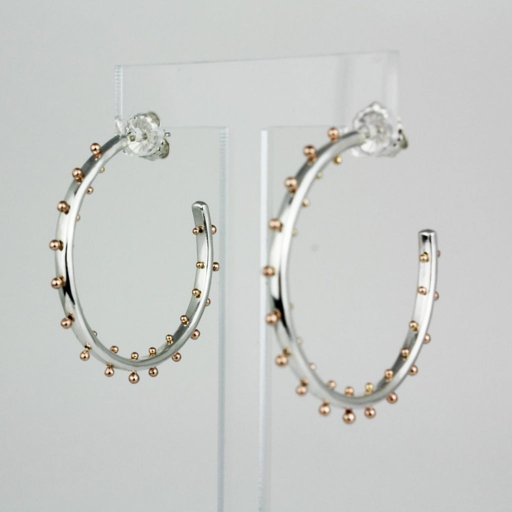 Silver and Rose gold Boss Babe Hoops-1.5""