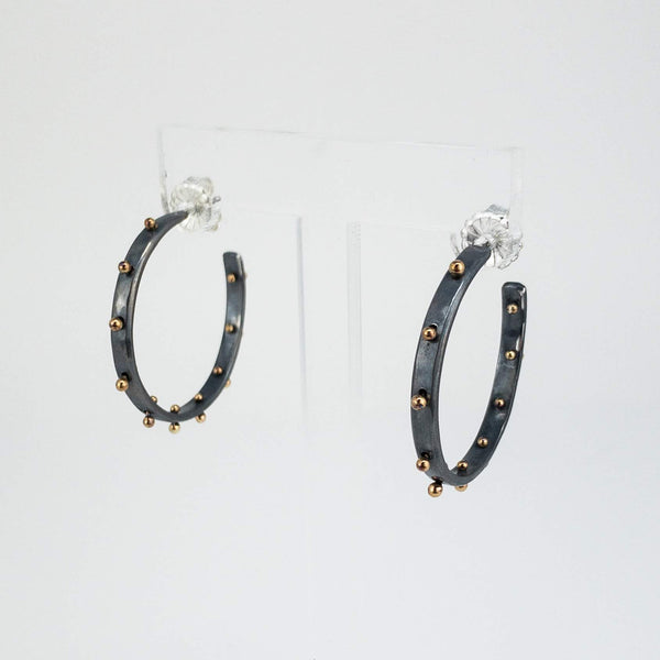 Blackened Silver and Gold Boss Babe hoops