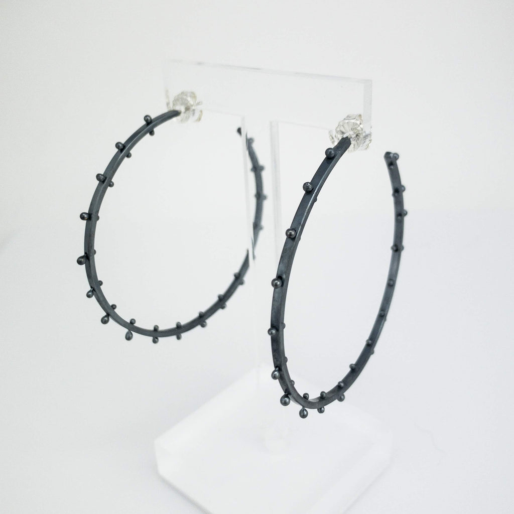 Blackened Silver Stud Hoops- 2""