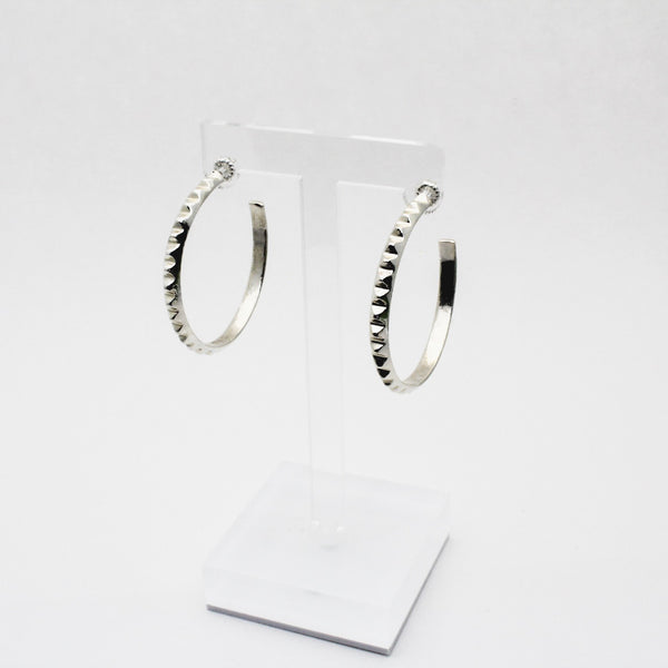 Silver Medium Pyramid Hoop Earrings