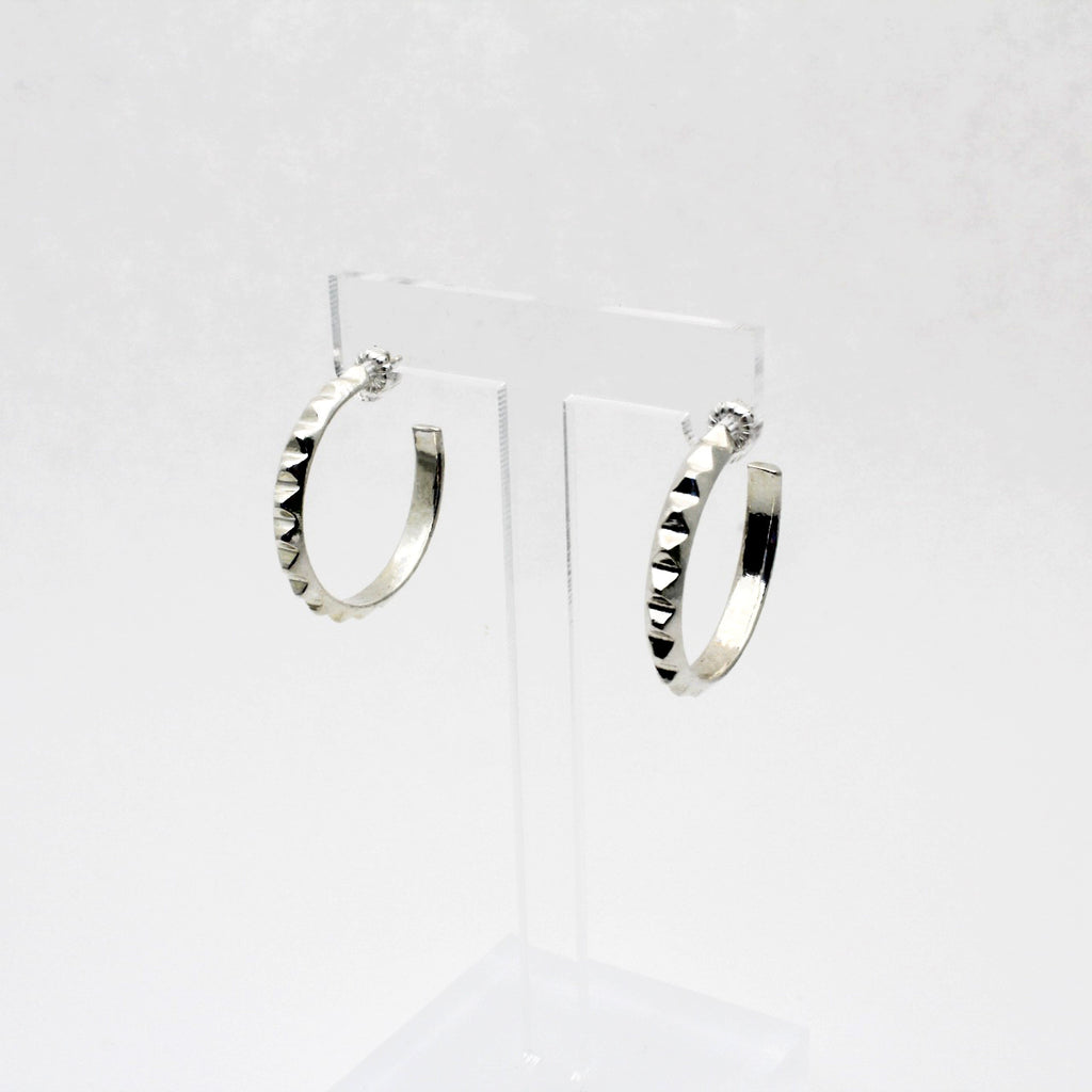 Small Silver Pyramid Hoops Earrings