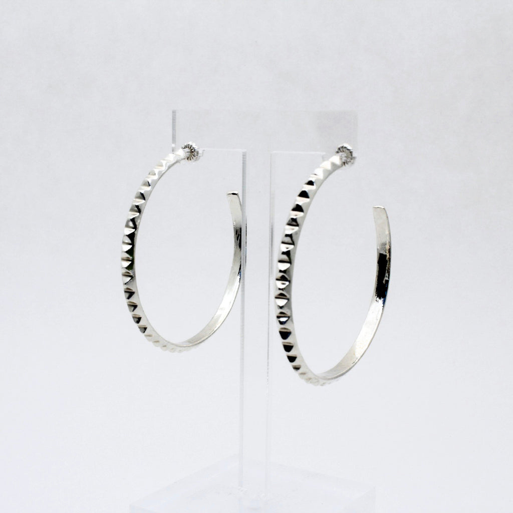 XL Silver Pyramid Hoop Earrings