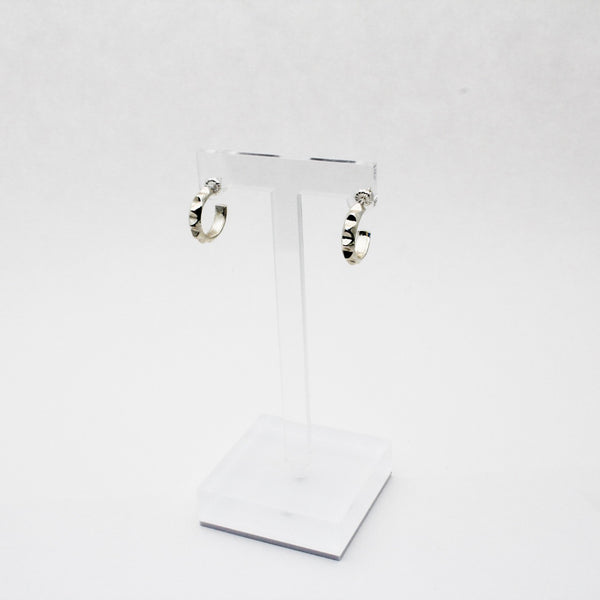Silver Pyramid Huggie Hoop Earrings