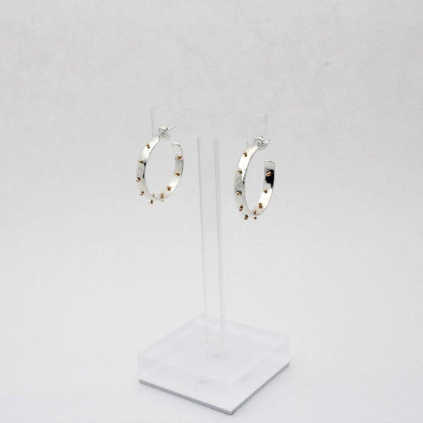 Small Two Tone Boss Babe Hoop Earrings- 4mm