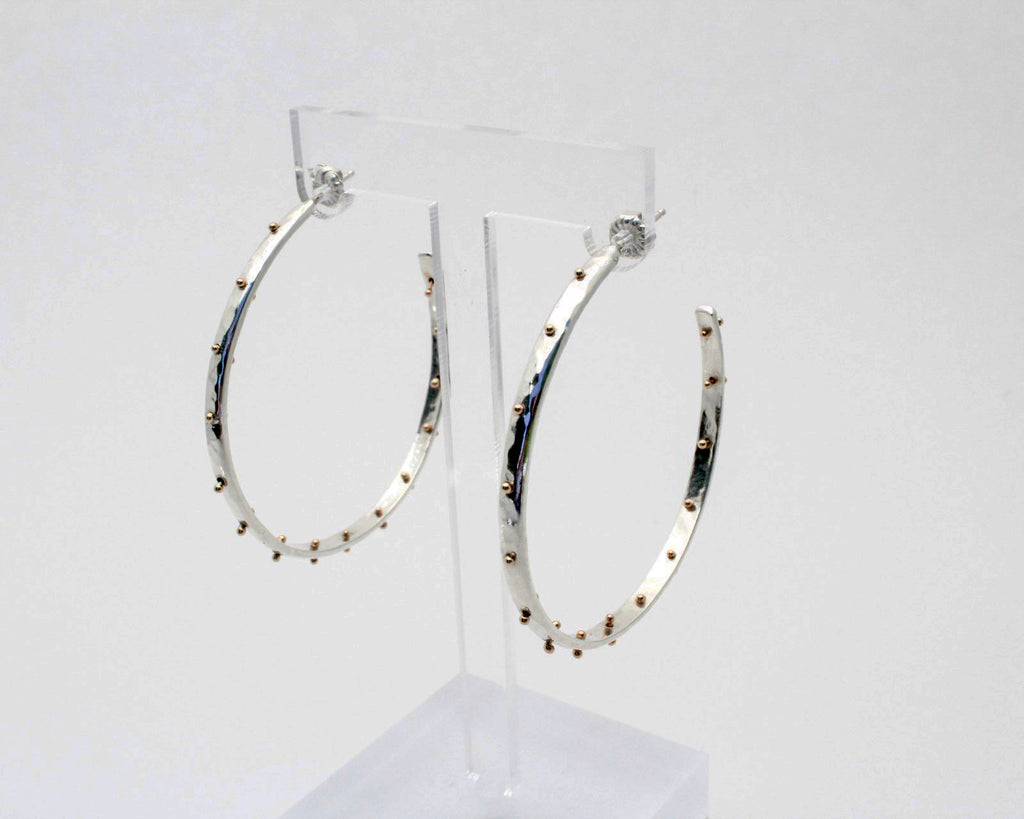 XL Boss Babe Hoop Earrings- Silver and Gold