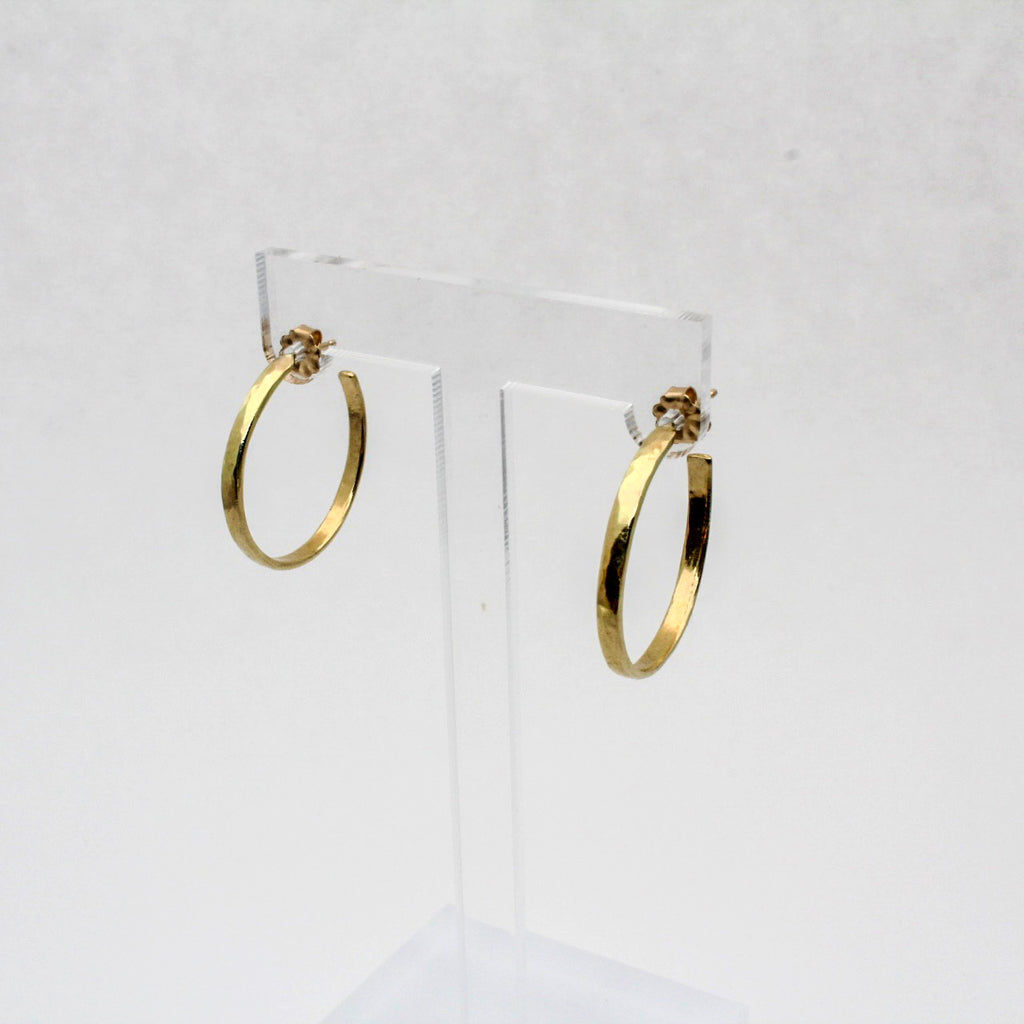 Gold Skinny Mama Hammered Hoop Earrings