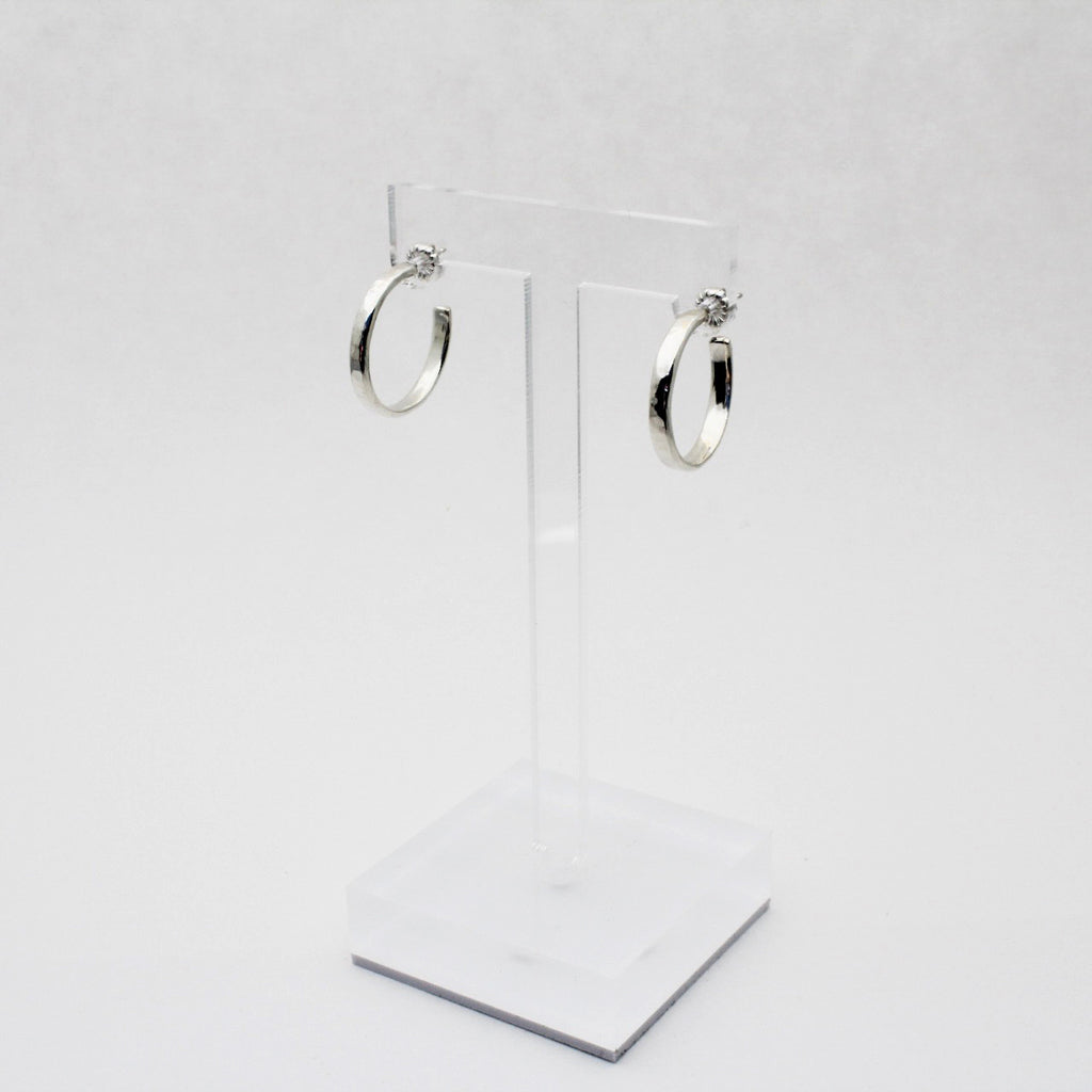 Silver Skinny Mama Hammered Hoop Earrings