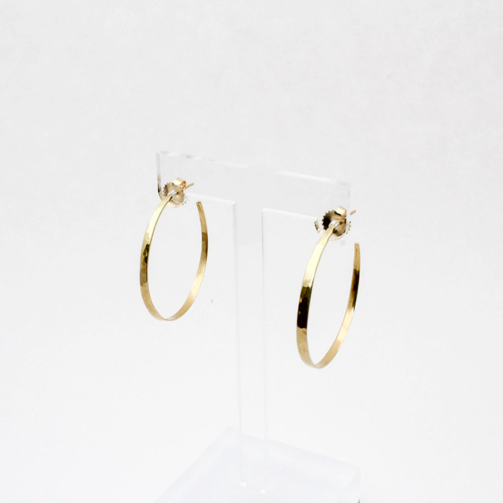 18k Gold Crescent Hoop Earrings