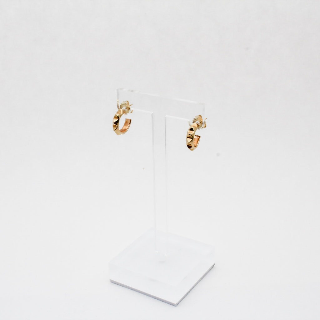 Gold Pyramid Huggie Hoop Earrings