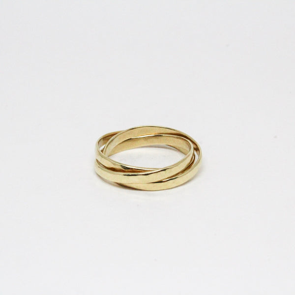 14k Yellow gold skinny Trinity Rolling Rings