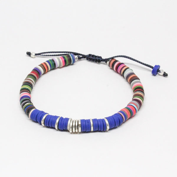 Blue and Multicolor Vinyl Adjustable Bracelet