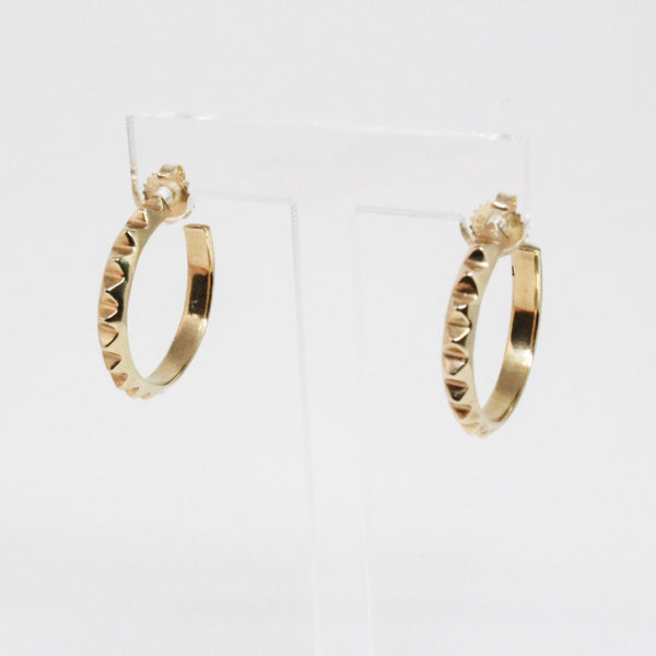 Medium Gold Pyramid Hoop Earrings