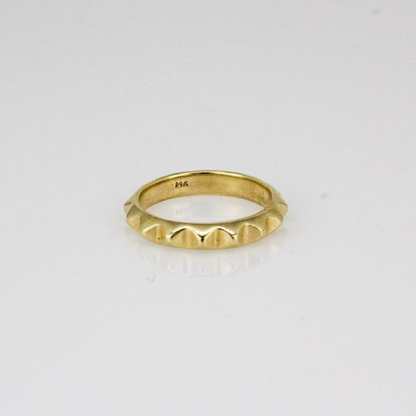 14k Yellow Gold Pyramid Stack ring
