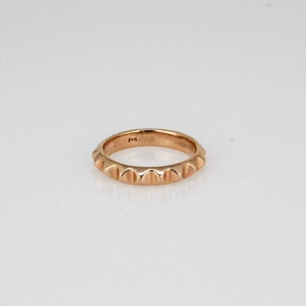 14k Rose Gold Pyramid Stack Ring
