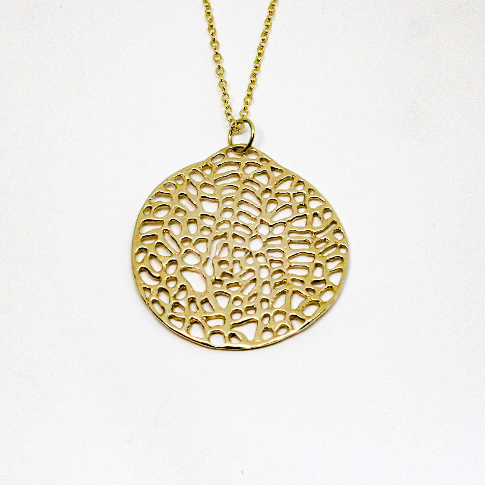 Gold Sea Fan Disc Pendant- 14k