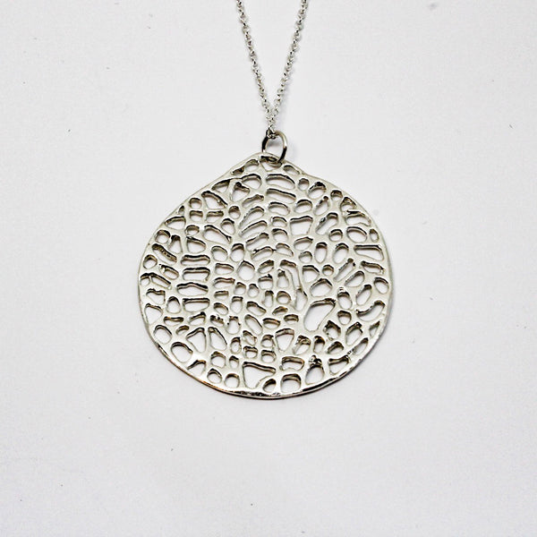 Sea Fan Coral Disc Pendant- Sterling Silver