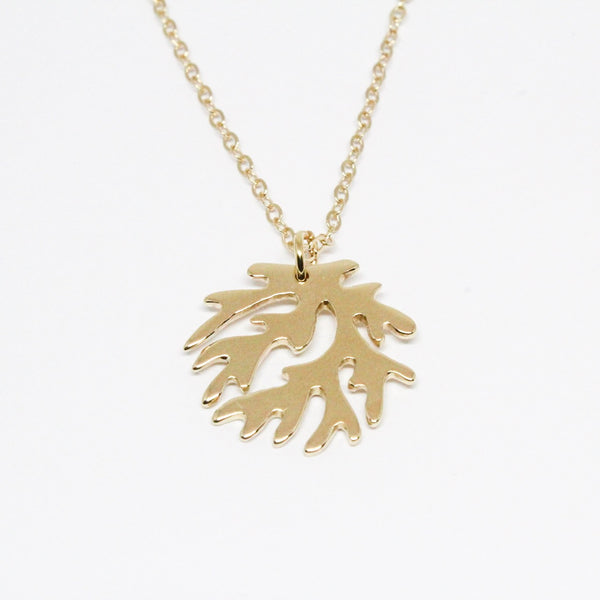 Yellow Gold Coral Logo Necklace