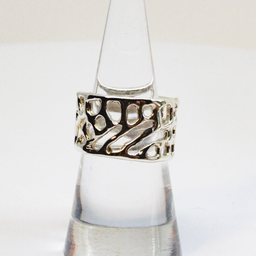 Silver Sea Fan Coral Band Ring