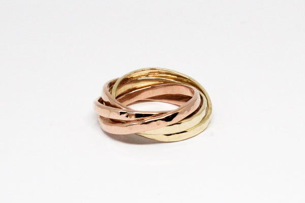 Golden 5 Band Rolling Ring