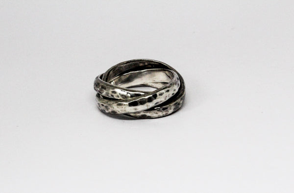 Bold Darkened Silver Trinity Rolling Rings