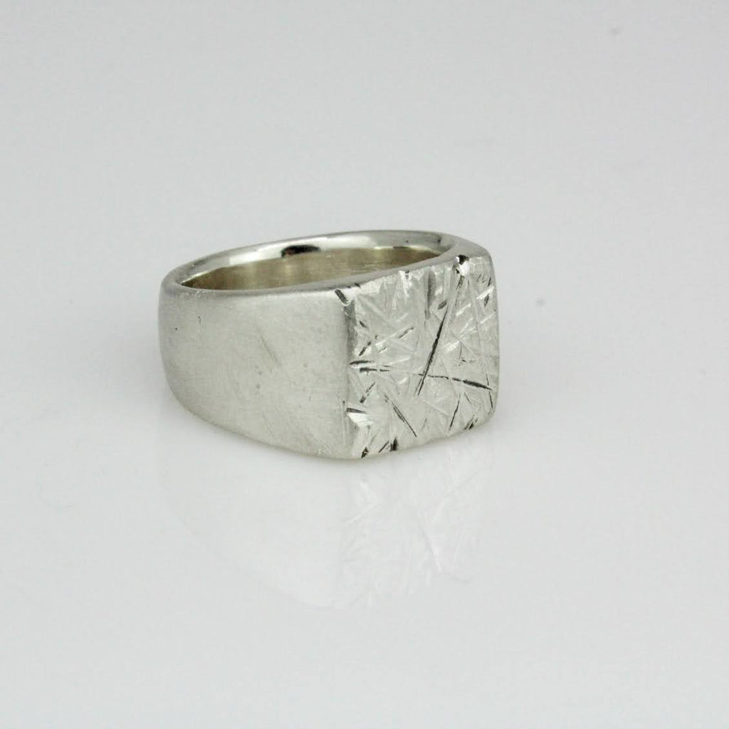 Wide Textured Square Signet Ring
