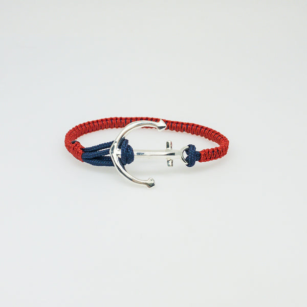 Large Sterling Silver Anchor Bracelet-Red/Navy