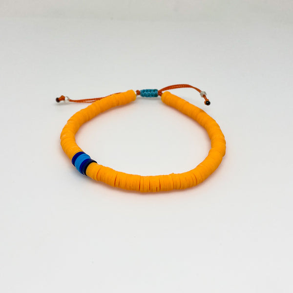 Orange and Blue Vinyl Bracelet