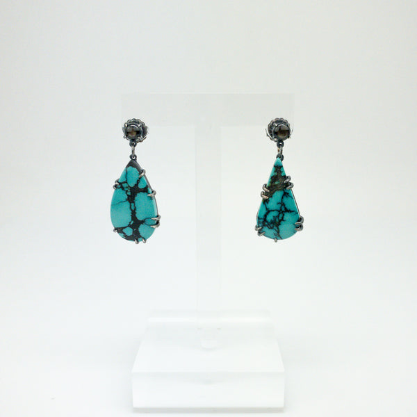 Black Star Turquoise Teardrop Earrings