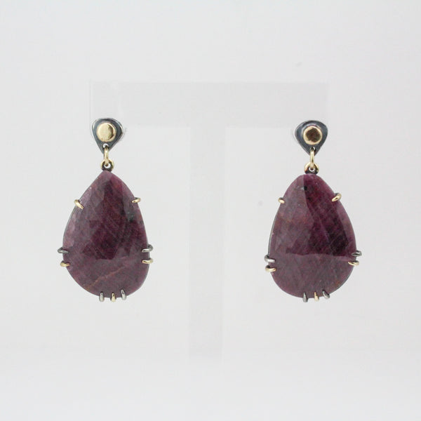 Large Ruby Slice Teardrop Earrings