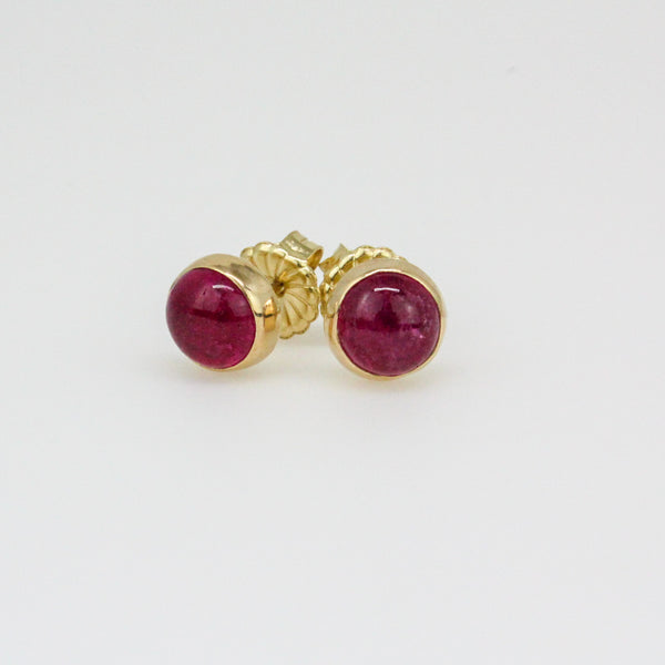Rubellite Tourmaline Stud Earrings