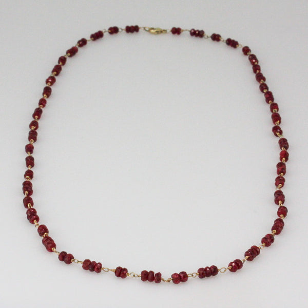 Ruby Rondelle Necklace- Triple Wrap Bracelet