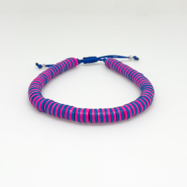Hot Pink and Blue Striped Vinyl Bracelet