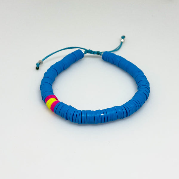 Bright Blue and Neon Yellow Vinyl Bracelet
