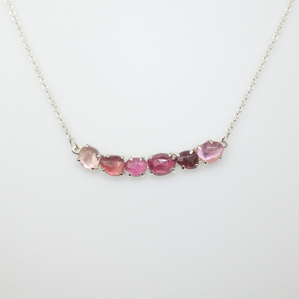 Ombré Pink Tourmaline Bar Necklace