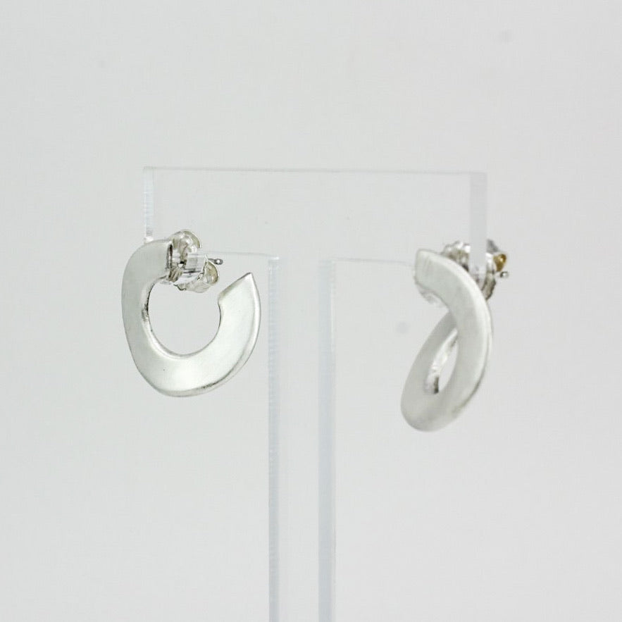 Front Back Flat Sterling hoops