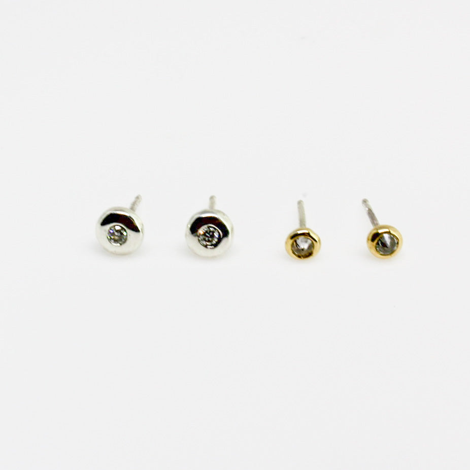 3mm Upside Down Diamond Stud Earrings