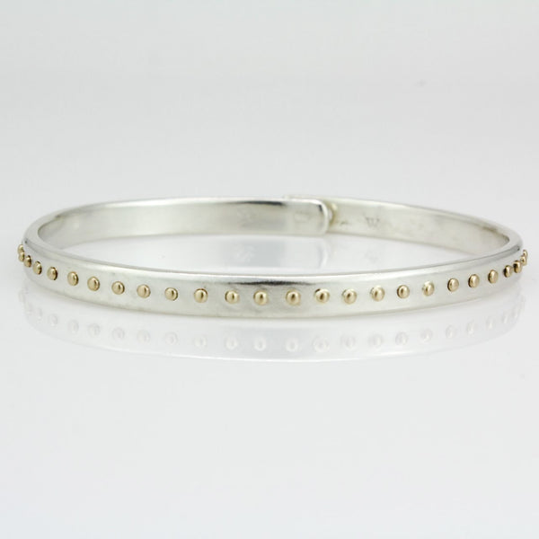 Silver and Yellow Gold Beach Bangle 5.0