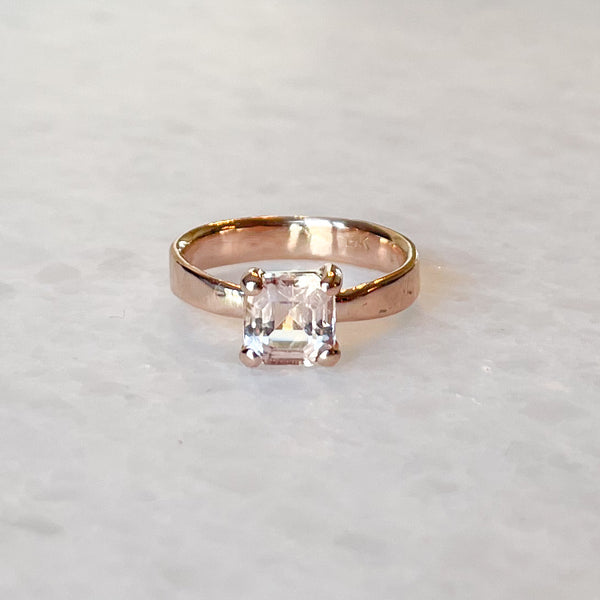 Morganite Asscher Cut Solitaire