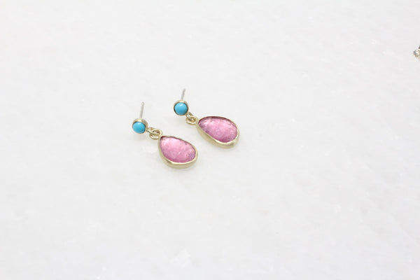 Turquoise and Pink Tourmaline Drop Earrings