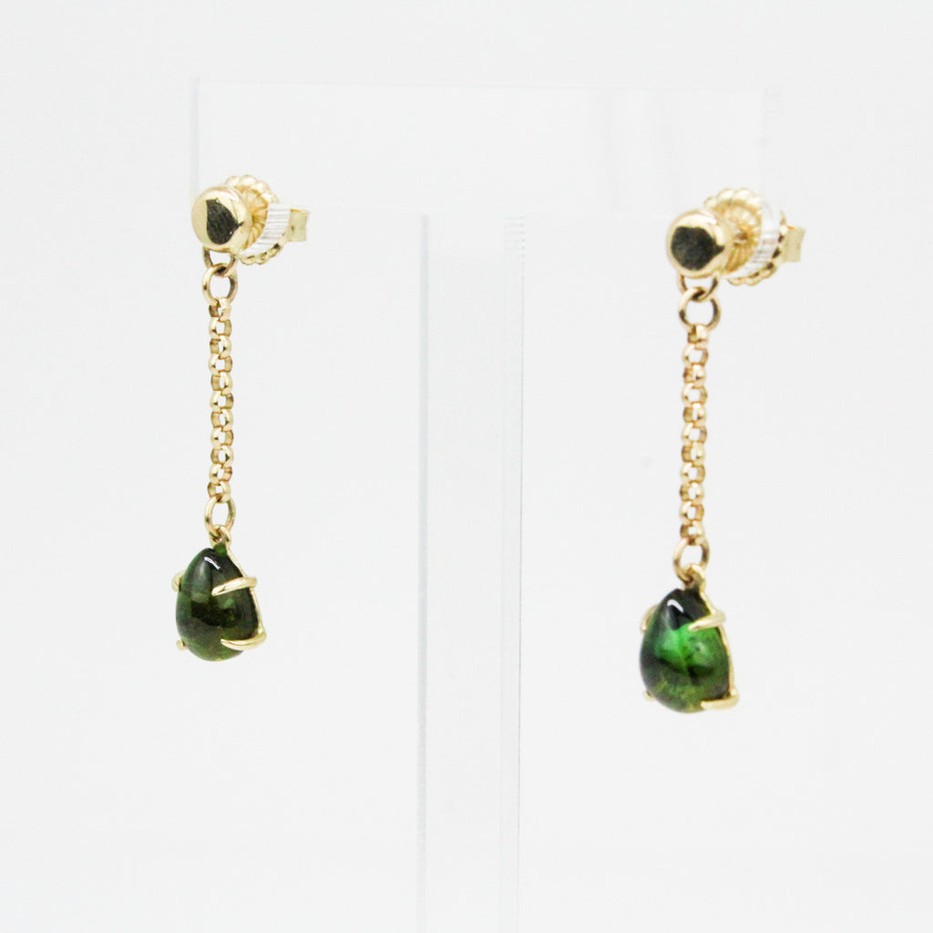 Green Tourmaline Teardrop Dangles-14k
