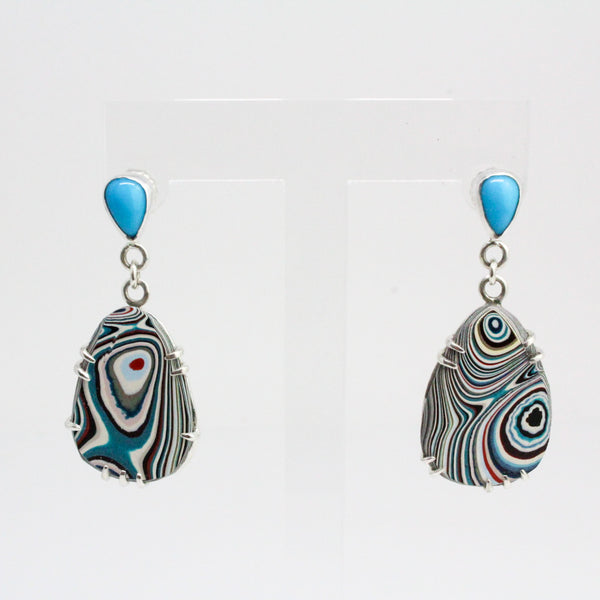 Turquoise Fordite Teardrop Earrings