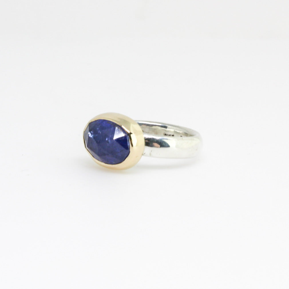 Oval Tanzanite Two Tone Ring